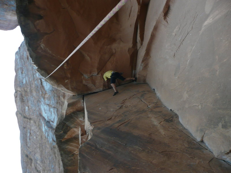 Rock Climbing Photo: Me toproping a 5.10 crack with a nice roof in Utah...