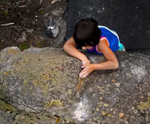 "Rock Climbing Photo: Mazzi making the F.A. on ""Hello Kitty."""