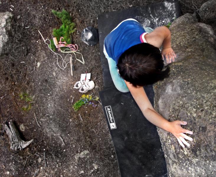 "Rock Climbing Photo: Mazzi making the F.A. on ""A Boom-A-FU."""