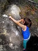 "Rock Climbing Photo: Mazzi making the F.A. of ""Hello Kitty."""