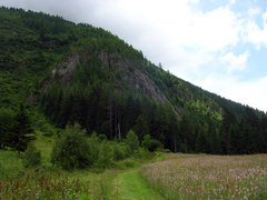 A slightly hidden look at the crag at Vallorcine from the trail--it's easier to spot from town.