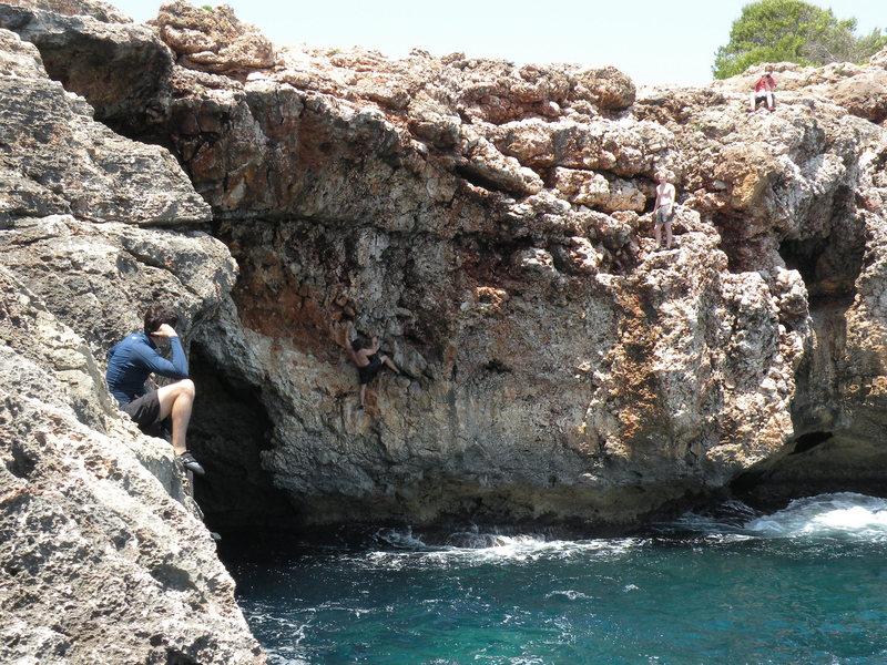 Rock Climbing Photo: Chris climbs Gen Lock on the right side of the Vir...