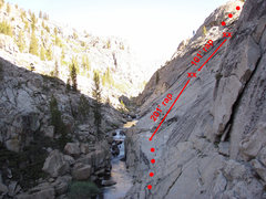 Rock Climbing Photo: View of the rap route from the base of the rap. Af...