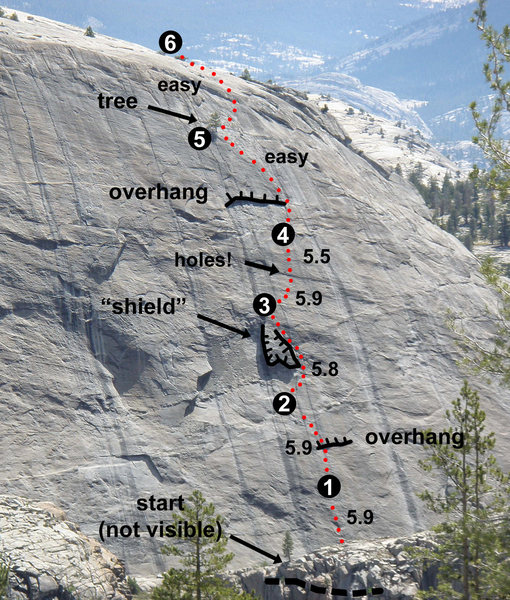 "To find the start of A Little Nukey (5.9), look for the obvious ""shield"" above you. You should be directly below or slightly right of the shield. The first bolt is a bit high (PG13) but not runout. If your first bolt looks really high, you're probably on an adjacent climb. The start is partway down a slope."