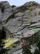 Rock Climbing Photo: Free Range with start variations shown.