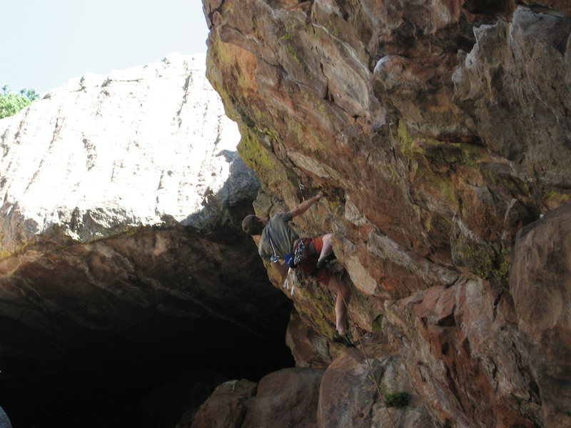 Joe Crotty setting up for the upper crux.