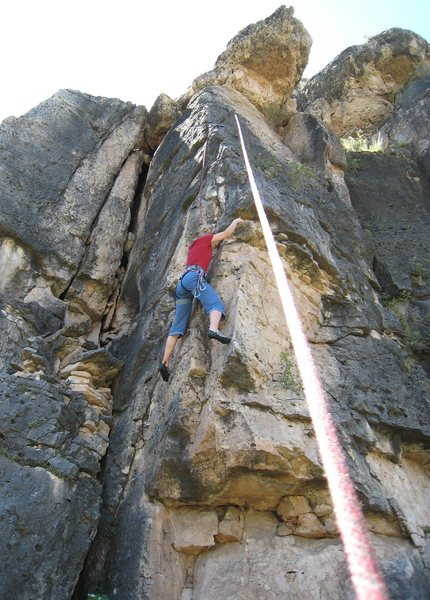Rock Climbing Photo: Moving out to the arete.