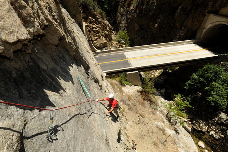 Jesse Groves follows Little Buckaroo during the route's first ascent.