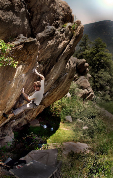 """Rock Climbing Photo: Jason crushing the F.A. on his own problem """"T..."""