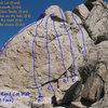 Photo/topo for the One-Eyed Cat Wall (East Face), Holcomb Valley Pinnacles. <br>