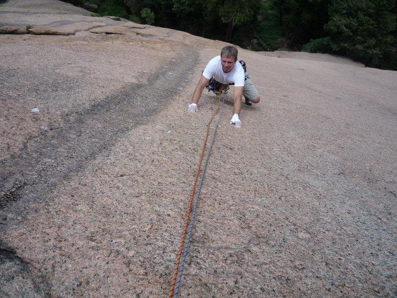 Rock Climbing Photo: On the slabby crux moves.