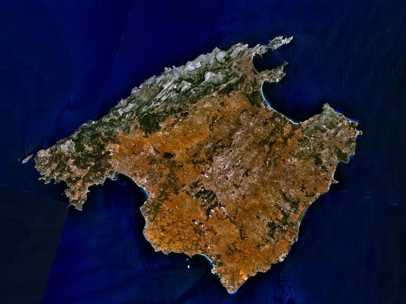 Rock Climbing Photo: A satellite image of Mallorca.