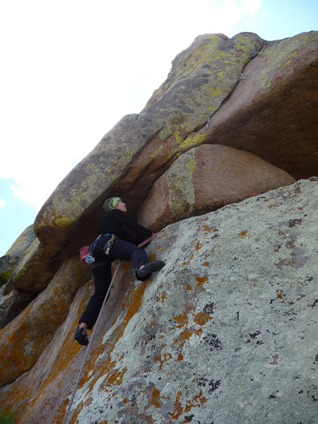 Rock Climbing Photo: Lenore exiting the chimney move.