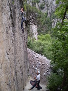 Rock Climbing Photo: Looking for holds on Monkey Bars.  (Jeff Jones bel...