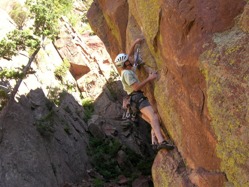 Rock Climbing Photo: Steve plugs in his gear before the crux section.  ...