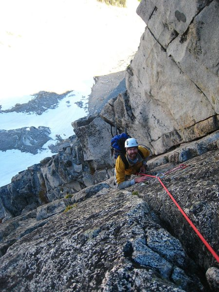 Following the crux pitch on Serpentine Ridge