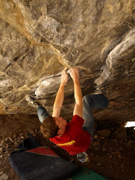 Rock Climbing Photo: T. Betterton on one of the Spray Wall standards.  ...