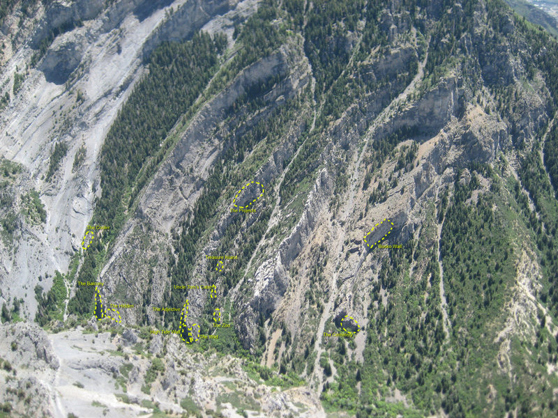 Rock Climbing Photo: These are most of the areas on the south side of t...