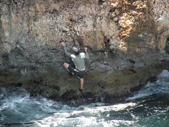 Rock Climbing Photo: Me on the start of Caldron.  The orange-brown stai...
