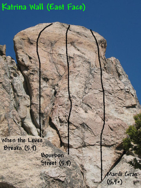 Photo/topo for Katrina Wall (East Face), Holcomb Valley Pinnacles. <br>