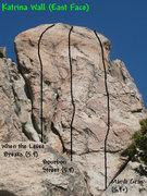 Rock Climbing Photo: Photo/topo for Katrina Wall (East Face), Holcomb V...