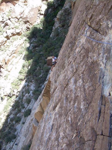Rock Climbing Photo: Thor contemplates the scary traverse!