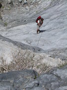 Rock Climbing Photo: The fixed line above the ladder on the approach