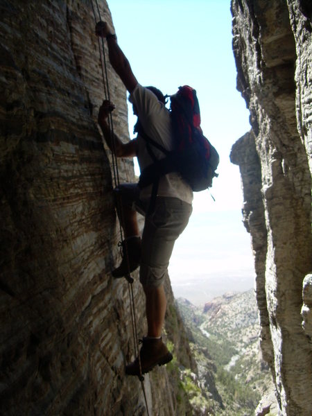 Rock Climbing Photo: The ladder with the approach drainage in the backg...