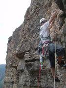Rock Climbing Photo: Wyatt starts up pitch 2.