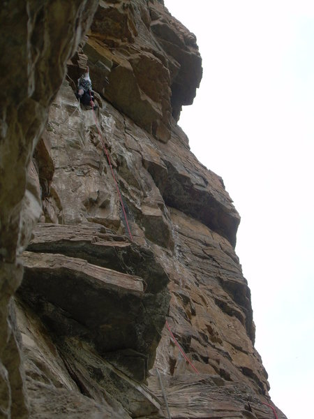 The crux overhang.