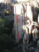 Rock Climbing Photo: red line Dam Clasic blue line Unknown 5.7   sorry ...
