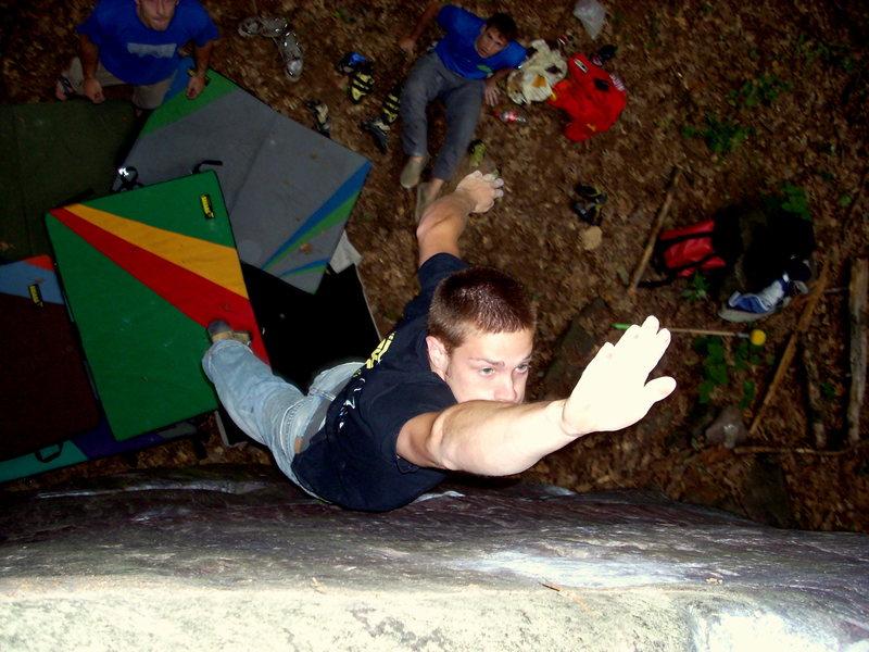 Almost got it! Kelsen climbing.