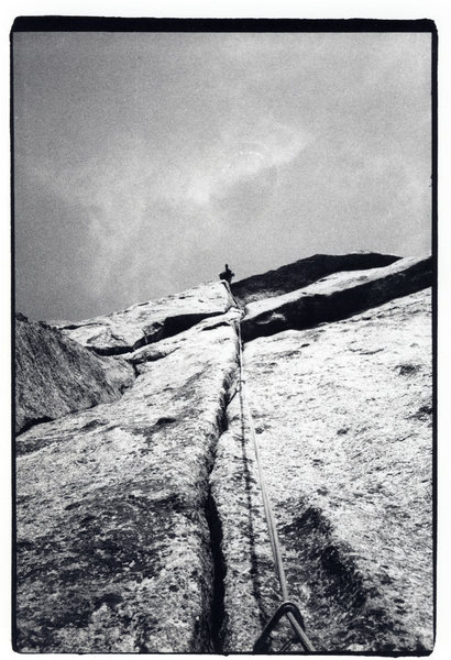 Rock Climbing Photo: Climber on the fist crack seen from the belay