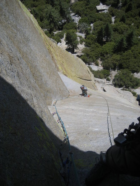 The best exposure is here and the traverse 5th pitch afterward.