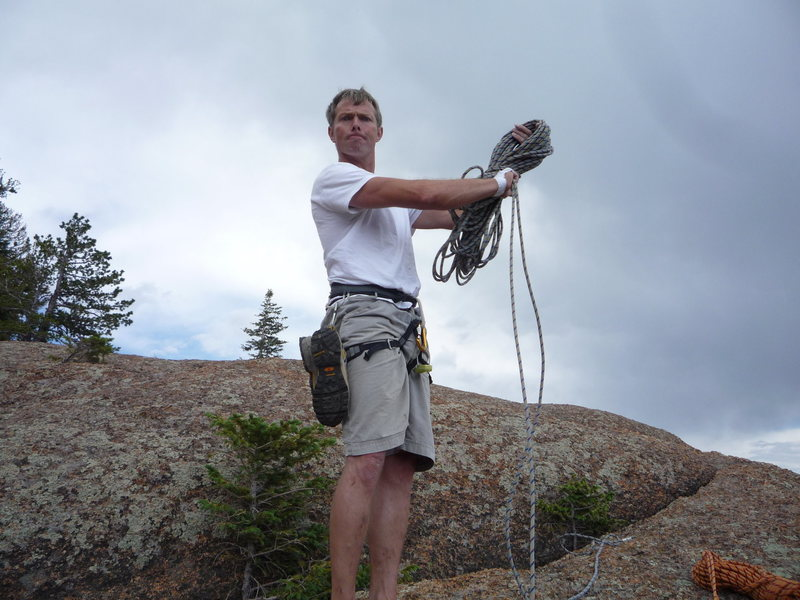 Rock Climbing Photo: Looking tough on the summit of Wigwam Dome.