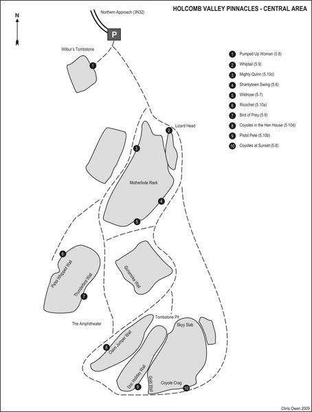 An overview map with some climbs to get your bearings.