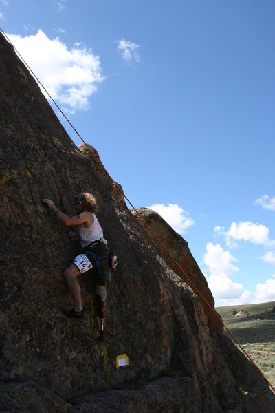 Chad Jukes, amputee climber, at Hartmans for 24 Hours of Gunnison Glory.