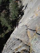 Rock Climbing Photo: Lee following P2 of TPL 5.11b.