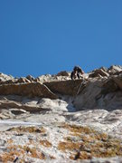 Rock Climbing Photo: WIth the 12a crux behind him Lee head to the belay...