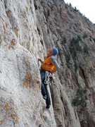 Rock Climbing Photo: Casting off into the heady psychological crux of T...