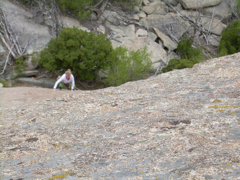 Rock Climbing Photo: Great granite on the first pitch.
