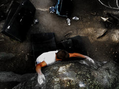 "Rock Climbing Photo: Jason Baker working to stay on the ""Huge Mamm..."
