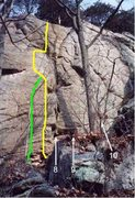 Rock Climbing Photo: The High Life is shown in yellow. The High Life Di...