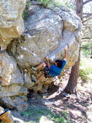 Rock Climbing Photo: FA of Bobcat Arete, Pop Rock, Boulder Canyon.
