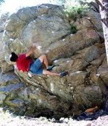 Rock Climbing Photo: BH on FA of Self Timer, Pop Rock, Boulder Canyon.