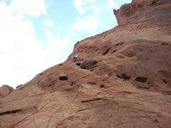 Rock Climbing Photo: Passing the third bolt P2