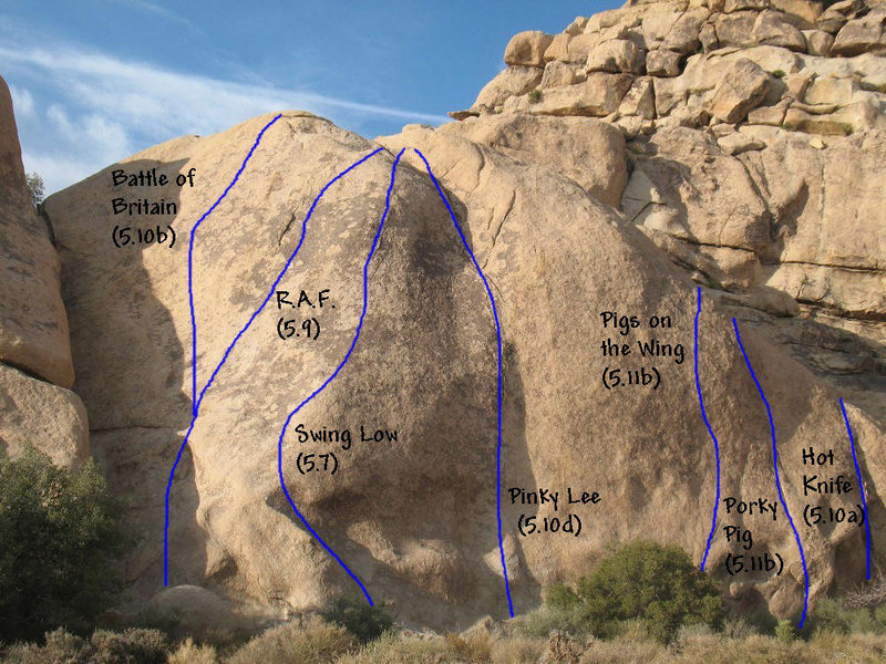 Rock Climbing Photo: Photo/topo for Echo Cove - North Side, Joshua Tree...