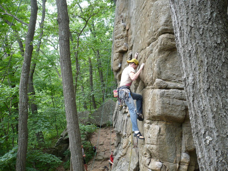 Nick Rhoads leading &quot;Dancing Madly Backwards Direct&quot; 5.11a R<br> <br> Photo by: Paul Campbell