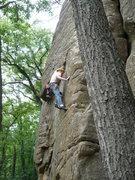 "Rock Climbing Photo: Nick Rhoads pulling the crux move on ""Dancing..."