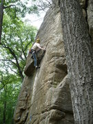 Rock Climbing Photo: Rhoads exiting the roof.  Photo by: Paul Campbell